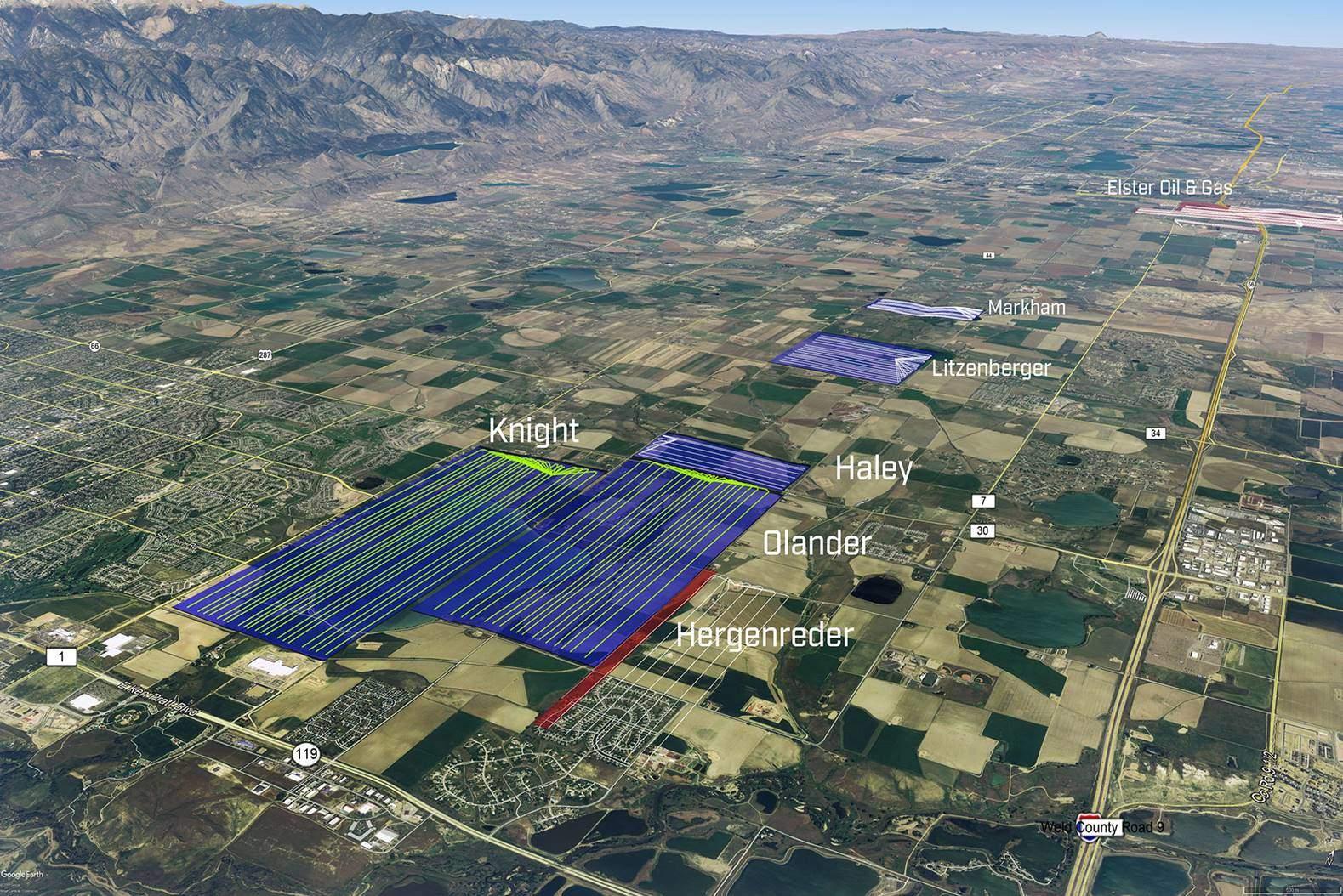 Lizenzflächen im Wattenberg Field und Bohrverläufe